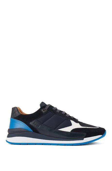 Hybrid trainers with monogram detailing, Blue