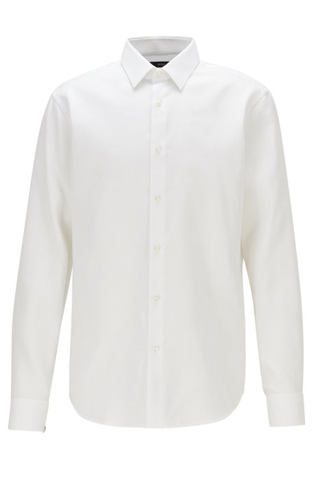 Regular-fit shirt with stain-resistant finishing, White