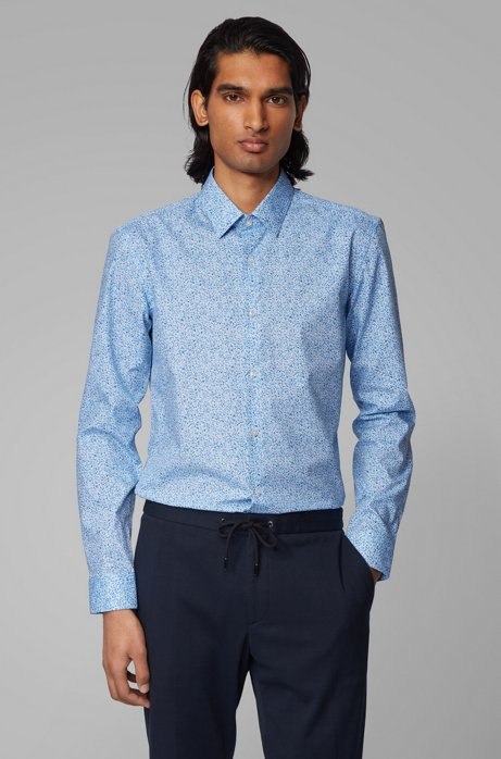 Camicia slim fit in cotone con finitura all'aloe vera, Blu