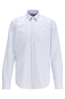 Camicia regular fit in cotone con finitura all'aloe vera, Celeste