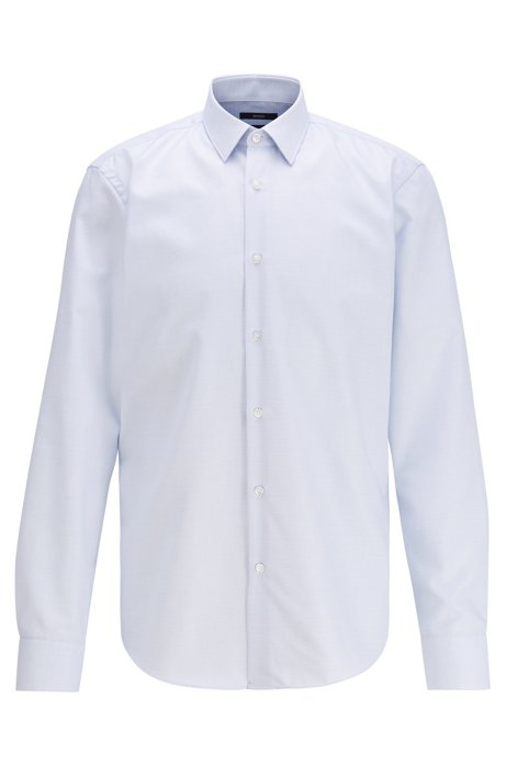 Camicia regular fit in cotone con finitura all'aloe vera, Celeste