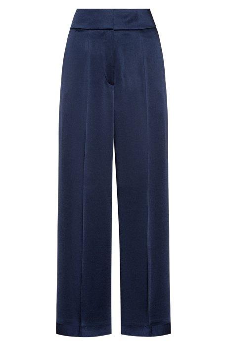 Regular-fit broek met hoge tailleband, Donkerblauw