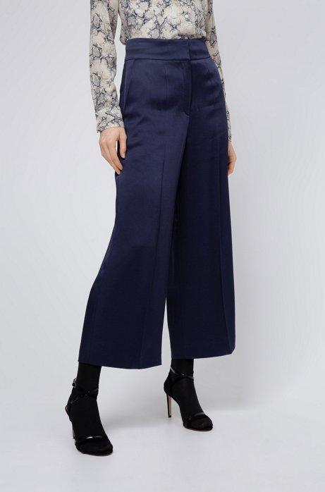Pantalon Regular Fit à taille haute, Bleu foncé