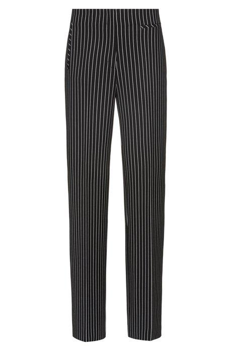 Pantaloni regular fit in tessuto elasticizzato a righe, Nero