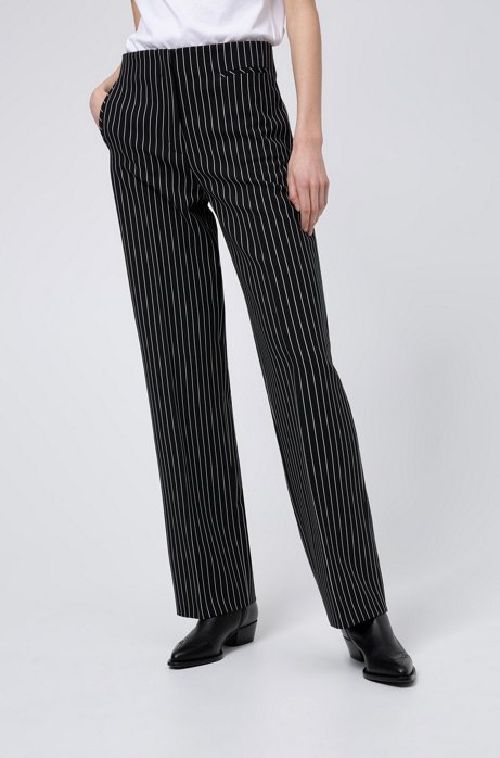 Regular-fit trousers in striped stretch fabric, Black