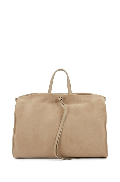Tote bag in Italian suede with leather trims, Beige