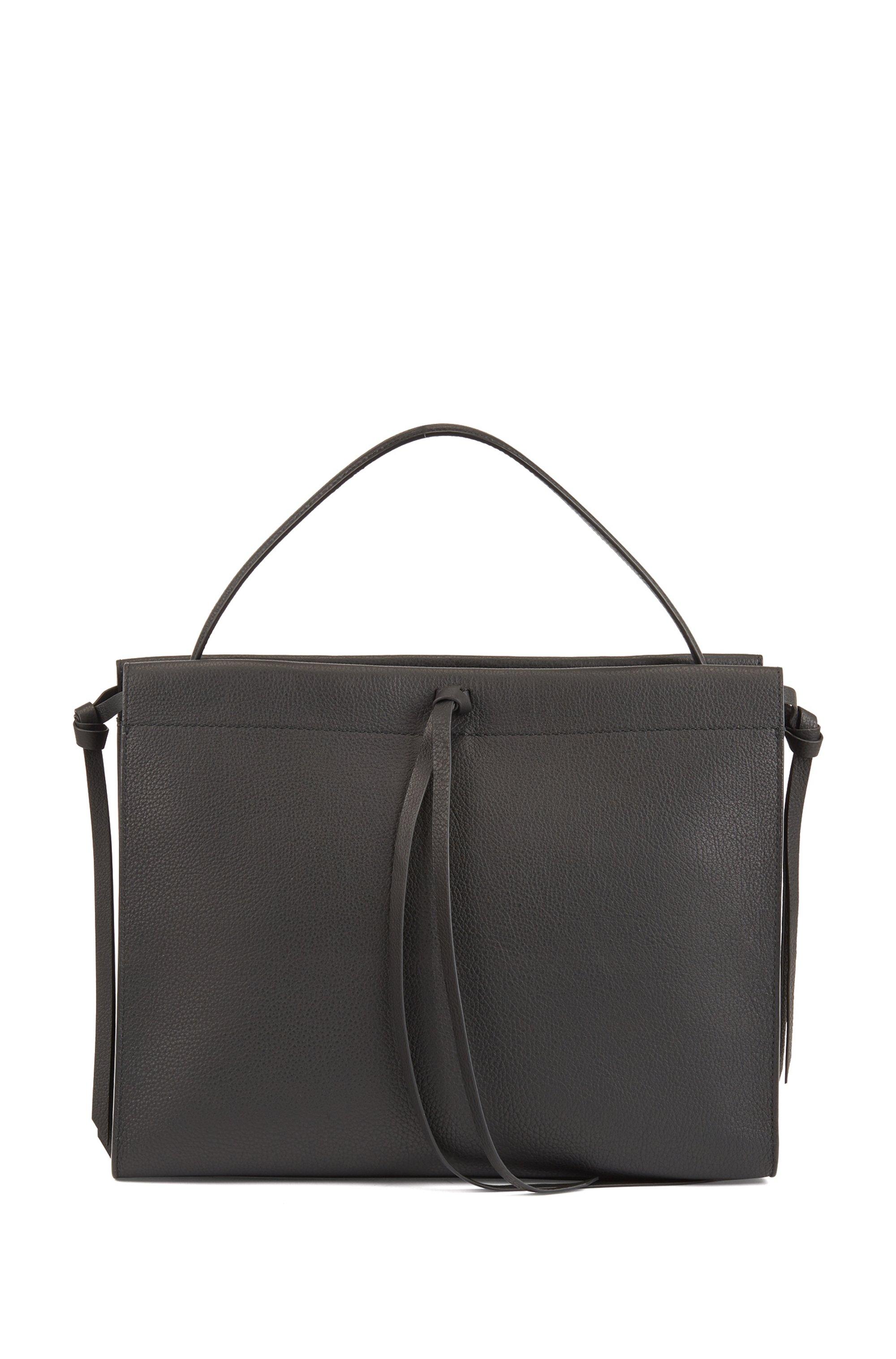 Tote Bag aus italienischem Leder mit Quaste, Schwarz