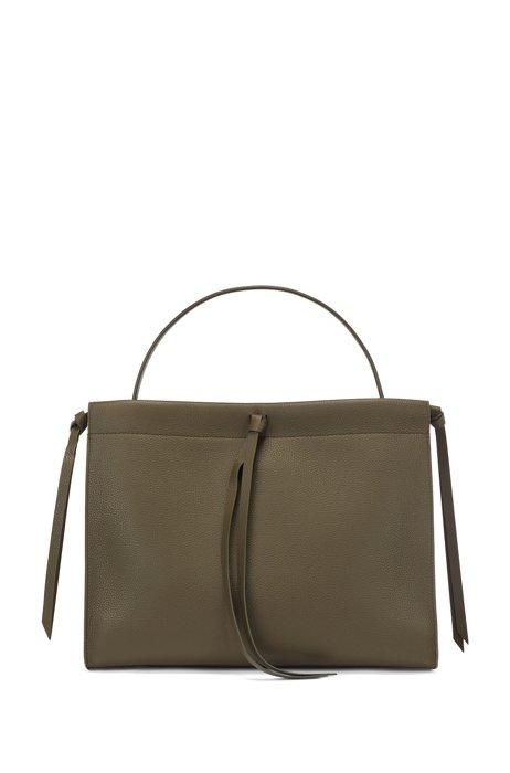 Tote Bag aus italienischem Leder mit Quaste, Dunkelgrün