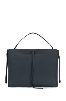 Tote bag in Italian leather with tassel detail, Dark Blue