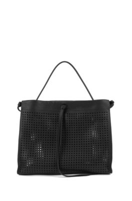 Calf-leather tote bag with laser-cut micro pattern, Black