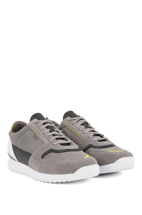 Running-style trainers in mixed materials, Open Grey