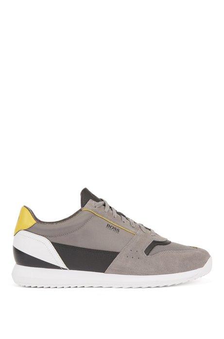 Baskets inspirées des chaussures de course en matières mélangées, Gris chiné