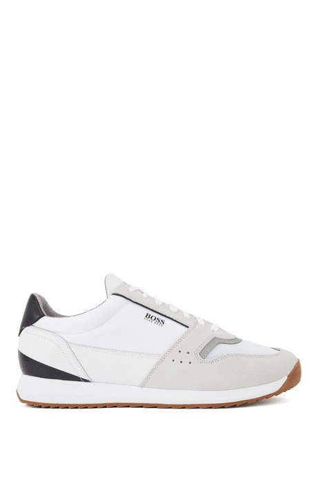Running-style trainers in mixed materials, White
