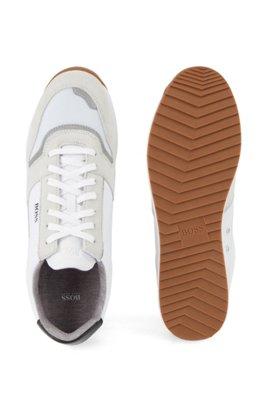 Baskets inspirées des chaussures de course en matières mélangées, Blanc