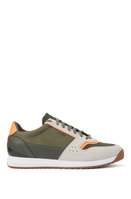 Running-style trainers in mixed materials, Open Green