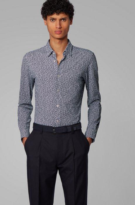 Bedrucktes Slim-Fit Hemd aus recyceltem Stretch-Jersey, Dunkelblau