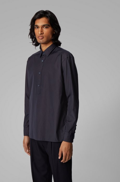 Relaxed-fit shirt in cotton with half placket, Dark Blue