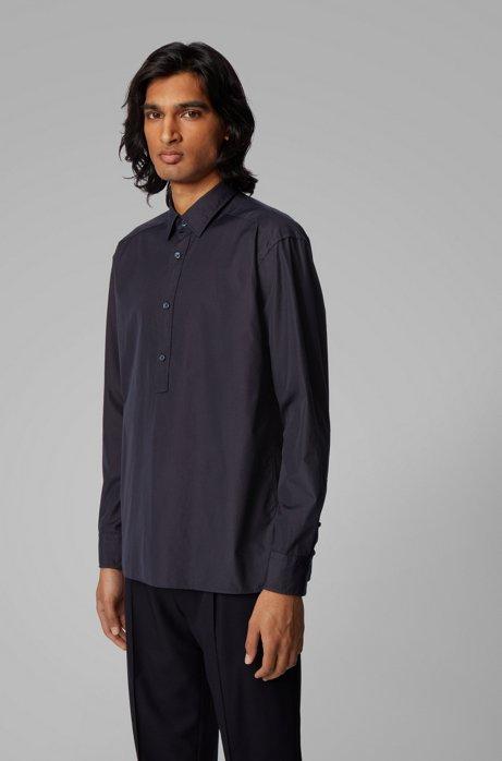 Relaxed-Fit Hemd aus Baumwolle mit halber Knopfleiste, Dunkelblau