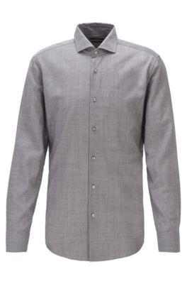 Slim-Fit Hemd aus nachverfolgbarer Schurwoll-Popeline, Silber