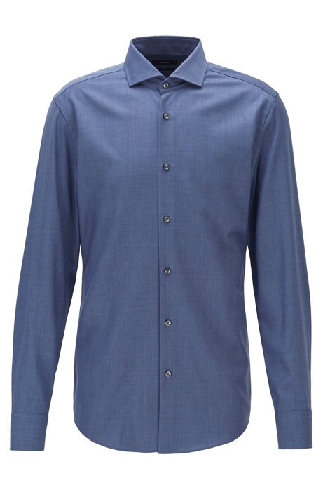 Slim-fit shirt in traceable virgin wool, Blue