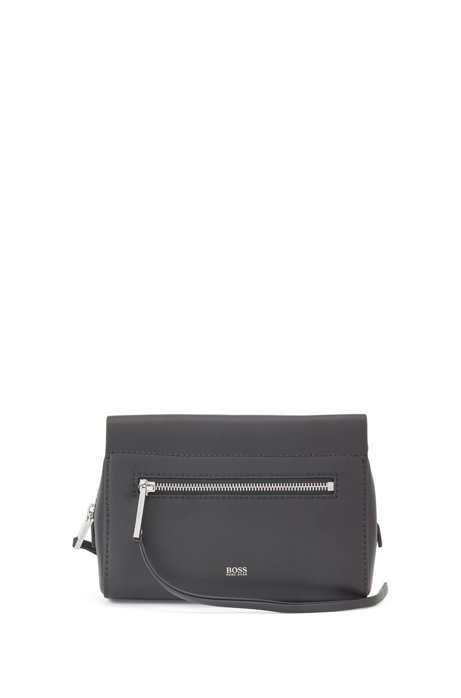 Italian-leather cross-body bag with ribbon strap, Black