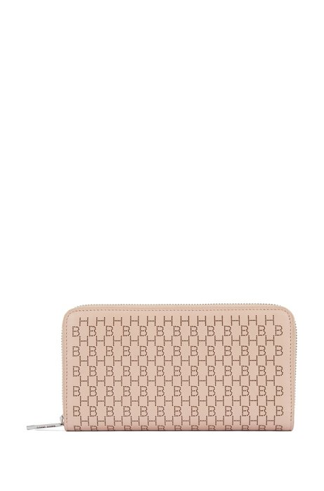 Ziparound wallet in calf leather with lasered monograms, Light Beige