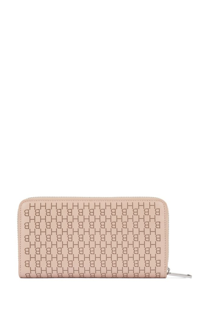 Ziparound wallet in calf leather with lasered monograms