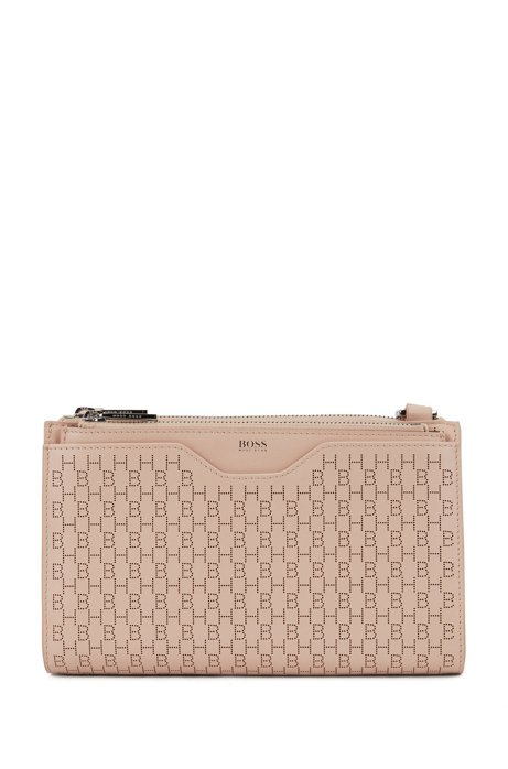 Mini bag in nappa leather with lasered monograms, Light Beige