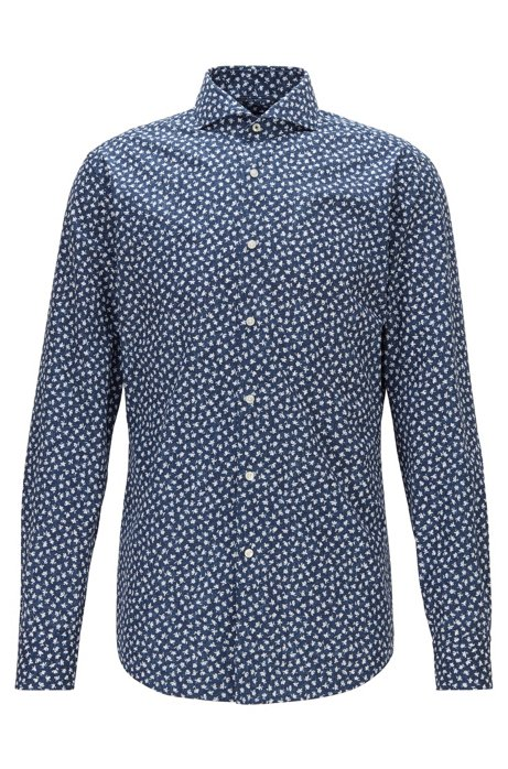 Slim-fit shirt in Italian floral-print cotton, Blue