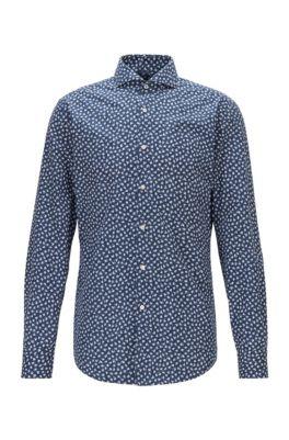 Camisa slim fit de algodón italiano con estampado de flores, Azul