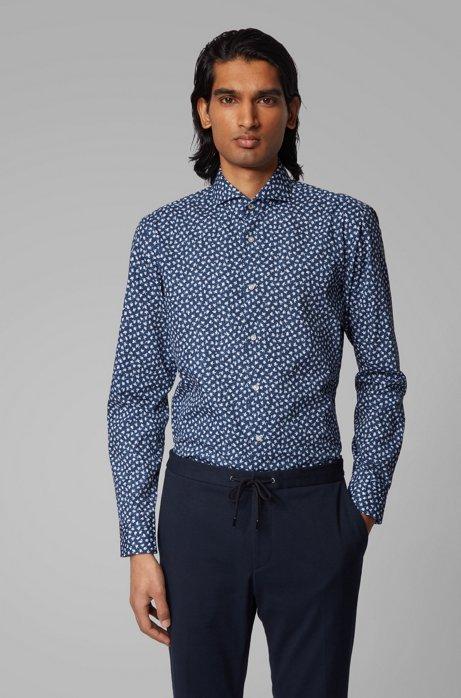 Chemise Slim Fit en coton italien à imprimé à fleurs, Bleu vif