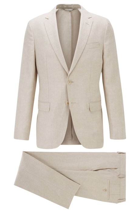 Costume Slim Fit en lin italien, à la confection vegan, Beige clair
