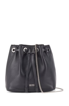 Mini drawstring bag in Italian leather with chain strap, Black