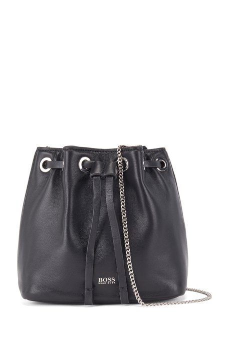 Mini drawstring bag in Italian leather with chain strap, Black