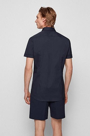 弹力棉质混纺面料短袖修身衬衫,  410_Navy