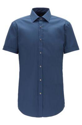 Chemise Slim Fit à manches courtes en coton stretch mélangé, Bleu vif