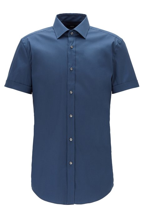 Short-sleeved slim-fit shirt in a stretch cotton blend, Open Blue