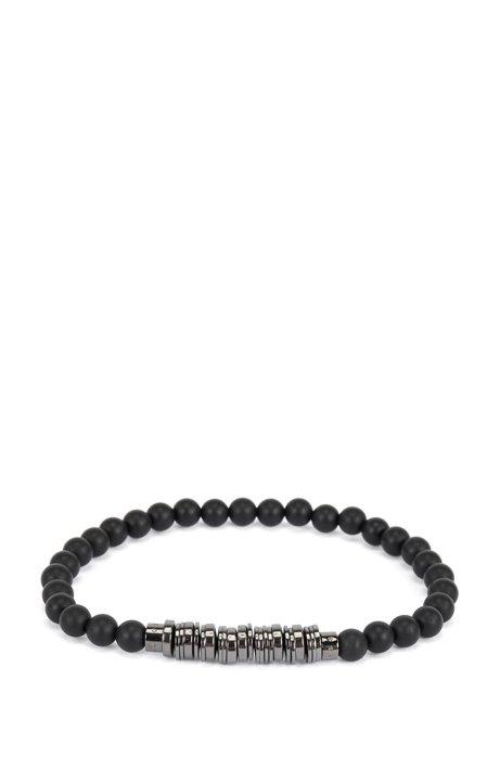 Bracelet en perles d'agate et disques en laiton, Noir