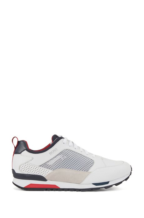 Low-top trainers in mixed materials with contrast details, White