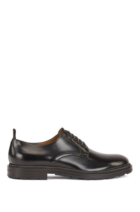 Derby shoes in calf leather with contrast outsole base, Black