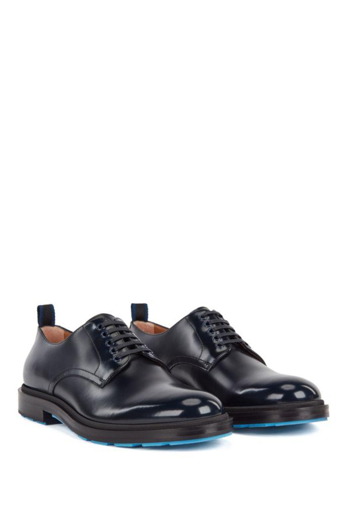 Chaussures derby en cuir de veau avec semelle extérieure contrastante