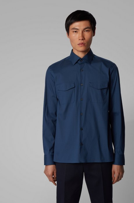 Relaxed-fit cotton-blend shirt with twin chest pockets, Blue