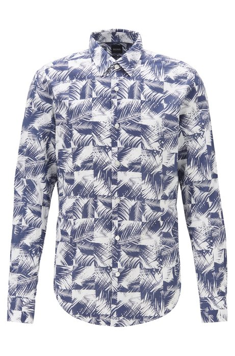 Camisa slim fit en algodón con estampado de hojas, Azul oscuro
