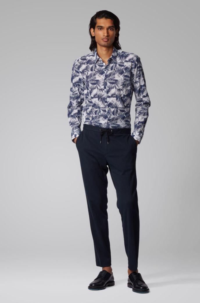 Slim-Fit Hemd aus Baumwolle mit Blätter-Print