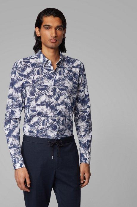 Chemise Slim Fit en coton à imprimé feuilles, Bleu foncé