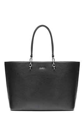 Grainy-leather shopper bag with chain-detail handles, Black