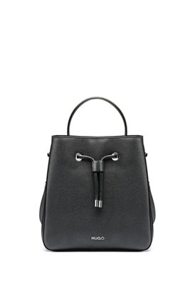Grained-leather bucket bag with drawstring closure, Black