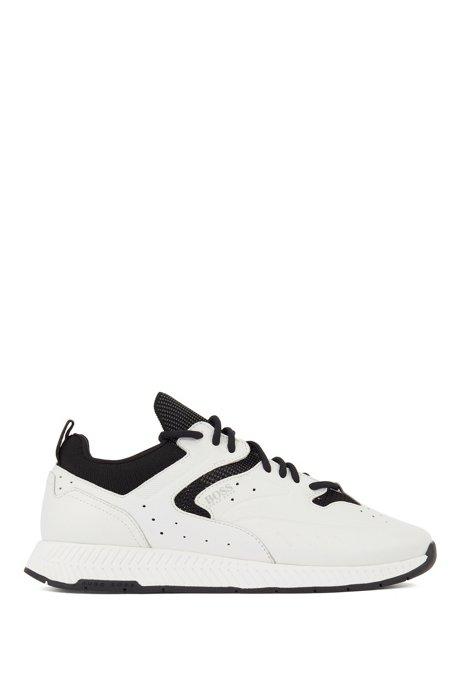 Sneakers stringate in pelle con dettagli in maglia jacquard, Bianco