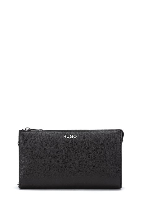 Grainy-leather mini bag with chain strap, Black