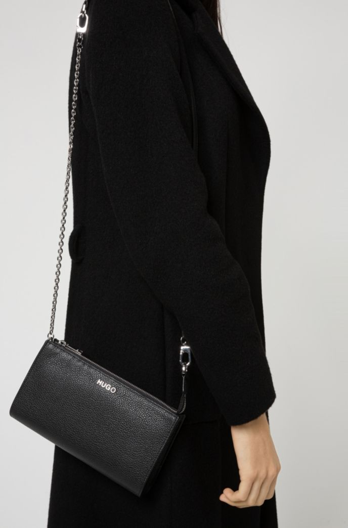 Grainy-leather mini bag with chain strap